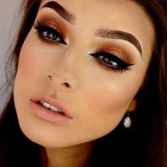 Hermoso maquillaje con tono naranja !!