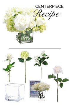Make this beautiful wedding centerpiece with liquid illusion and faux flowers from afloral.com. #diywedding