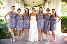 light purple short bridesmaid dress #oneshoulder #lilac #pleats #beaded