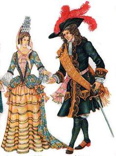 Мужской и женский костюм конца 17 века стиль барокко