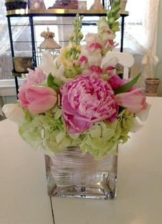 Pink peonies apple blossoms snapdragons pink tulips and green hydrangeas for your next party from Cottage Flowers St Simons Island Georgia Beautiful Flower Arrangements, Floral Arrangements, Beautiful Flowers, Table Arrangements, Flower Arrangements Hydrangeas, Peony Arrangement, Peonies And Hydrangeas, Exotic Flowers, Hydrangea Bridal Bouquet