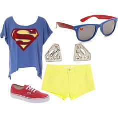 superman, created by lizcantrell1 on Polyvore needs longer shorts but it's super awesome.