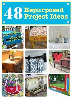 48 DIY Repurposed Project Ideas: This is a really fun collection of ideas to help get your wheels turning on your own DIY projects. Repurposed Items, Repurposed Furniture, Diy Furniture, Repurposed Doors, Diy Projects To Try, Craft Projects, Project Ideas, Deco Originale, Reuse Recycle