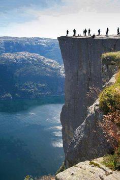 Trolltunga aka Devil's Drop aka Pulpit Rock, a rock platform 2,300 feet above Lake Ringedalsvatnet in Norway.