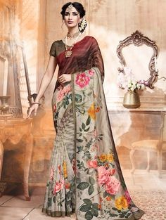 Add grace and charm to your appearance in this engaging multi colour art silk printed saree. You can see some interesting patterns accomplished with abstract print work. Comes with matching blouse. Art Silk Sarees, Sari Silk, Grey Saree, Sari Dress, Trendy Sarees, Casual Saree, Traditional Sarees, Indian Ethnic Wear, Saree Styles