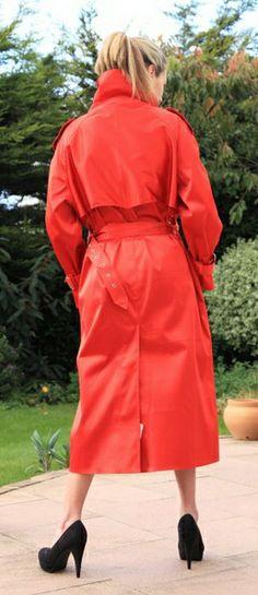 Mallik red rubberised mackintosh from Lakeland Elements.