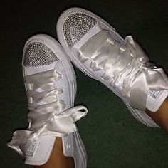 Brand New White Bling Diamonte Diamond Converse Kids And Adults Footwear
