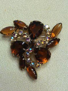 Amber Topaz & Aurora Borealis AB Rhinestone by SweetBettysBling, $24.00