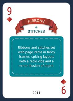 Win This Custom Card Deck & Discover Web Design Trends 2004-2014 https://www.pinterest.com/templatemonster/win-the-web-design-trends-cards/  #webdesigntrends  #ribbons #stitches