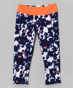 Another great find on #zulily! Navy & Tangerine Watercolor Athletic Capri Leggings - Girls #zulilyfinds