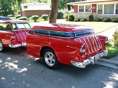 55 Chevy Nomad with 55 Nomad trailer. Station Wagon, Vintage Trailers, Vintage Cars, Vintage Caravans, Antique Cars, Rat Rods, Automobile, Chevy Nomad, Car Trailer