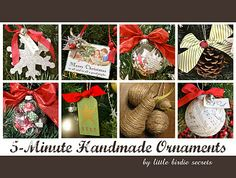"""""""Here are a bunch of quick and easy ornaments you can make to decorate a tree or use as gift tags, gift toppers, etc. this year, or pin them for next year!"""""""
