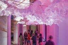 As the sensors detected visitors in the space, the luminaires and speakers activated, projecting reflected light onto the paper lanterns above. The more people who were present, the deeper and richer the color, hue, and tone that they experienced.