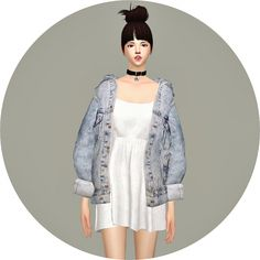 Vintage Denim Jacket Dress at Marigold via Sims 4 Updates