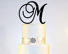 Custom - 6 inch Monogram Acrylic Wedding Cake Topper Personalized in Any Letter A B C D E F G H I J K L M N O P Q R S T U V W X Y Z