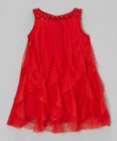 Look what I found on #zulily! Red Tulle Shift Dress - Toddler & Girls by Blossom Couture #zulilyfinds