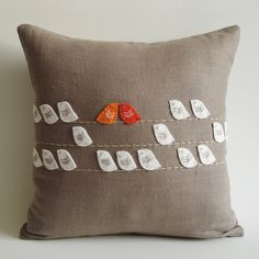 adorable....Sukan / Birds Linen Pillow cover - 14x14 inch - Red White Orange Beige Soft Brown. $74.00, via Etsy.