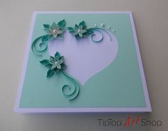 Quilled Paper Handmade Greeting Card in Pale by TipTopArtShop