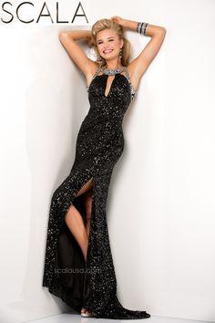 SCALA style 48437 Black. #Prom2K15 #Spring2015 #Prom2015 #Dress #Gown #PromDress #Eveningwear www.scalausa.com