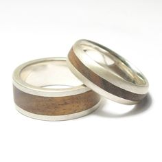 Justin Duance  Silver and wood rings
