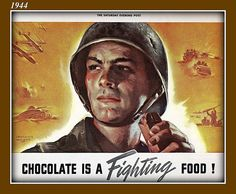 WWII, Chocolate is a fighting food - old Nestlé ad. Vintage Advertisements, Vintage Ads, Nestle Chocolate, History Of Chocolate, Patriotic Images, Ww2 Propaganda, Ww2 Posters, Christmas Ad, Print Ads