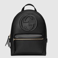 Soho Leather Chain Backpack by Gucci. Gucci textured leather backpack with embossed interlocking G. Chain-link s. Gucci Fashion, Fashion Bags, Fashion Backpack, Fashion Outfits, Fashion Jewelry, Fashion Styles, Fashion Fashion, Gucci Handbags, Luxury Handbags