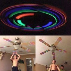 Tape glow sticks to ceiling fan! More