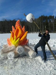 Campfire and marshmallow made of snow!
