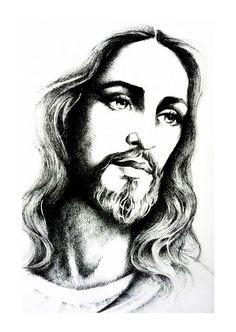 "jesus-christ/jesus-christ-by-mariebouldingue.jpg ""Jesus Christ"" by Marie Bouldingue Jesus Tattoo, Christus Tattoo, Jesus Drawings, Jesus Christ Drawing, Pencil Drawings, Pictures Of Jesus Christ, Jesus Christus, Jesus Face, Jesus Is Lord"