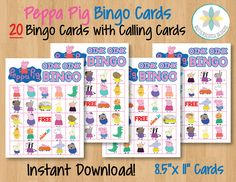 Peppa Pig Printable Bingo Cards 20 Different by ButterscotchDesign