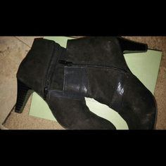 "Boots 3"" heel, zip up inside leg. Shiny black patten leather and suede. Worn once Karen Scott Shoes Ankle Boots & Booties"