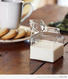 glass milk carton.
