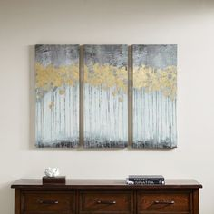 Madison Park Grey Forest Grey Gel Coat Canvas with Gold Foil Embellishment 3-piece Set
