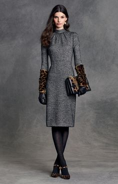 Take a walk on the wild side this Fall accenting your ladylike tweed looks with roaring leopard print accessories. | Dolce&Gabbana