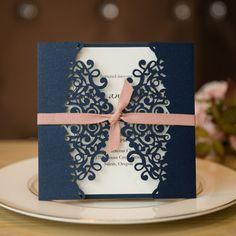 Navy Blue and Blush Laser Cut Wedding Invitations SWWS008