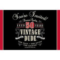 Vintage Dude 50th Invitation (8 Pack)