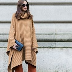 How to wear a cape: tonal knitted cape and flares