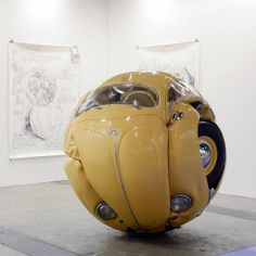 """* The Volkswagen """"Beetle Sphere"""" by Ichwan Noor at by Mondecor Gallery during Art Basel 2013 in Hong Kong.credit:Ichwan NoorBeetle Sphere, polyester, real parts from VW beetle x 180 x 180 cmCourtesy of the artist and by Mondecor Gallery. Art Basel Hong Kong, Art Public, Vw Vintage, Mellow Yellow, Yellow Art, Art Plastique, Installation Art, Art Installations, Art Cars"""