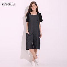 1c2579f63cd4 ZANZEA Womens Jumpsuits 2017 Sleeveless Adjustable Strap Pockets Button Wide  Leg Denim Blue Retro Rompers Calf