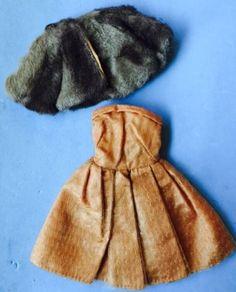 RARE-VINTAGE-UNEEDA-SUZETTE-BARBIE-CLONE-DOLL-ORANGE-DRESS-WITH-FUR-COAT