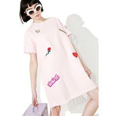 Lazy Oaf Denim Patch Tunic Dress ($110) ❤ liked on Polyvore featuring dresses, boxy dress, pastel dresses, pink dress, lazy oaf and denim zipper dress