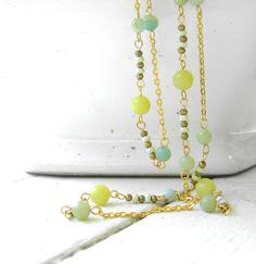 Long Beaded Necklace  Lemon Jade Necklace  by evekuuskART on Etsy, $65.50