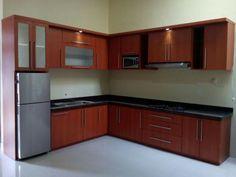 b agus interior L Shaped Kitchen Designs, Kitchen Cupboard Designs, Kitchen Cabinet Styles, New Kitchen Designs, Modern Kitchen Cabinets, Simple Kitchen Design, Kitchen Room Design, Home Decor Kitchen, Interior Design Kitchen