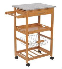 "Best Kitchen Trolley Cart 31"" Rolling Wooden Trolley With Wine Rack ,Granite Top #HOMCOM"