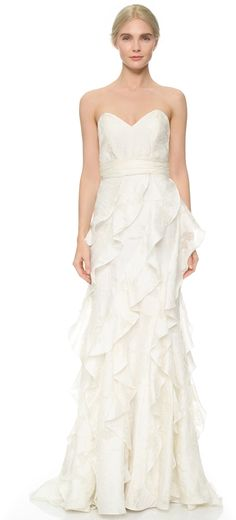 This stunning Badgley Mischka Collection Strapless Gown with Ruffles is divine.