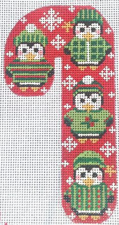 Penguins Candy Cane Hand Painted Needlepoint Canvas