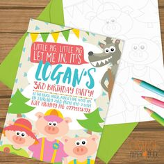 Personalised Childrens Party Invitations  THREE LITTLE PIGS  These playful personalised childrens party invitations are perfect for your childs birthday party. Fun and cute they will brighten up any celebration! The invitation details are on the front and a picture for your guests to colour in on the back. The invitation is sized A6 (148 x 105 mm) and comes with a bright coloured envelope  Please note - you are purchasing a physical item which will be posted to you.  WANT TO PRINT IT AT…