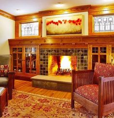 Arts and Crafts fireplace and display. I like the windows in the lay out as well.