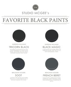 The 5 Best Black Paint Colors Tried-and-true black paint colors that instantly update any space. - Ask Studio McGee: Our Favorite Black Paints ~ Sherwin Williams Black Magic for interior doors Studio Mcgee, Exterior Paint Colors, Paint Colors For Home, House Colors, Paint Colours, Exterior Design, New Interior Design, Home Interior, Interior Trim