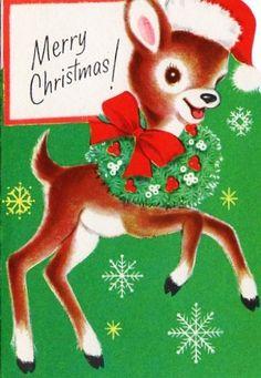 """Adorable Vintage Deer Christmas Card  """"Merry Christmas! """""""
